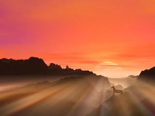 日の出と馬