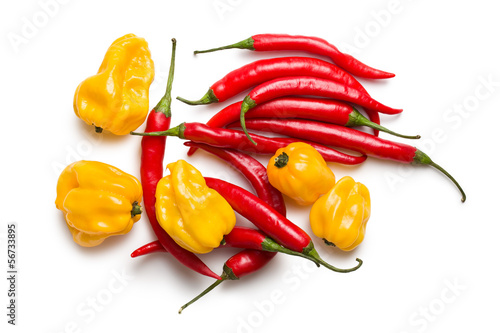 red chili peppers and yellow habanero