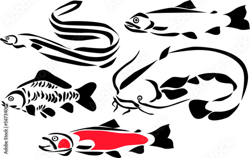 stylized freshwater fishes