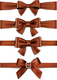 Satin brown ribbons. Gift bows.