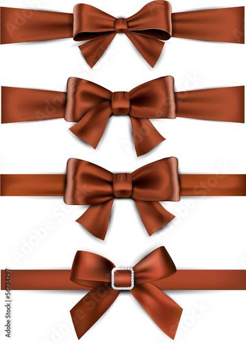 Satin brown ribbons. Gift bows.