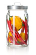 chili peppers and habanero in glass jar