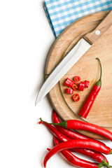 red peppers on cutting board