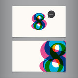 Business card template with number eight