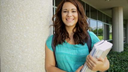 Portrait Female Caucasian Teenage College Student