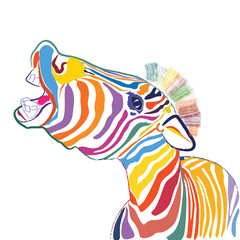 a happy emotional multicolored zebra, vector