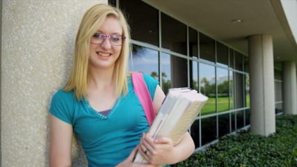 Teenage Caucasian University Student Library Books