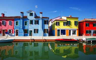 multicolored houses in Burano island. Venice. Italy.