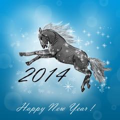 Лошадь на новогодней открытке