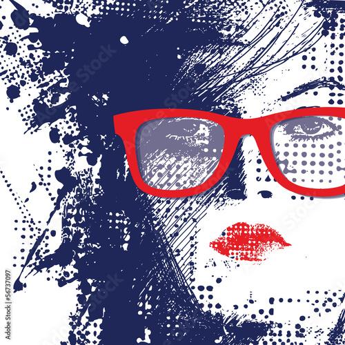 Poster Vrouw gezicht Women in sunglasses