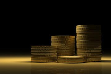 Gold Treasure with Money stacks