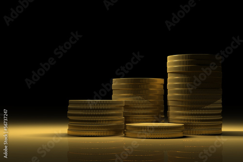 Gold Treasure with Money stacks