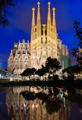 Night view of Sagrada Familia in Barcelona. Spain