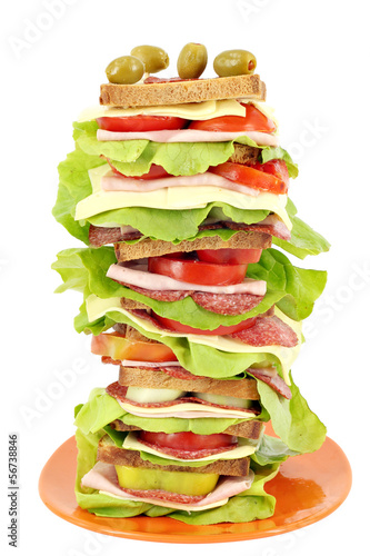 tall sandwich on white background