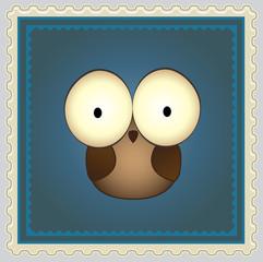 Cartoon Owl Postage Stamp