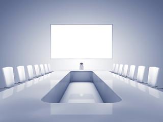 Modern teleconferencing room , telepresence