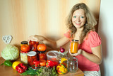 Woman with pickled vegetables