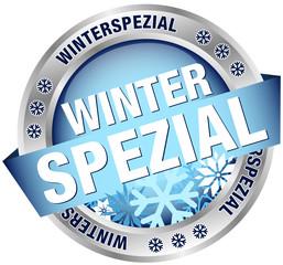 """Button Banner """"Winterspezial"""" blau/silber"""