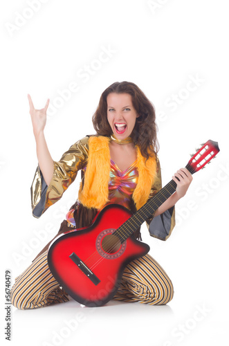 Woman with guitar in mexican clothing