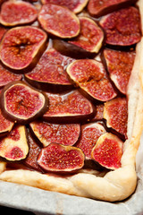 Homemade fig pie with brie cheese and honey