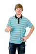 Young man talking and gesturing isolated
