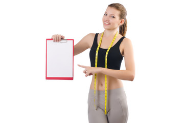 Woman with centimeter and paper binder