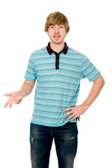 Young man talking and gesturing