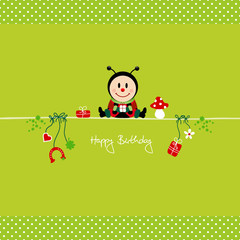 Ladybeetle & Symbols Green Birthday Card Dots