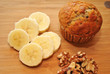 Sliced Banana Walnut Muffins with Fresh Ingredients
