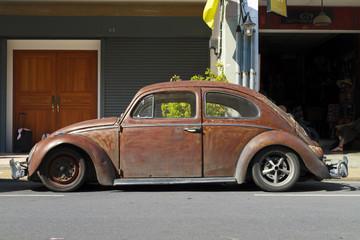 Rusty brown customized Volkswagen Beetle