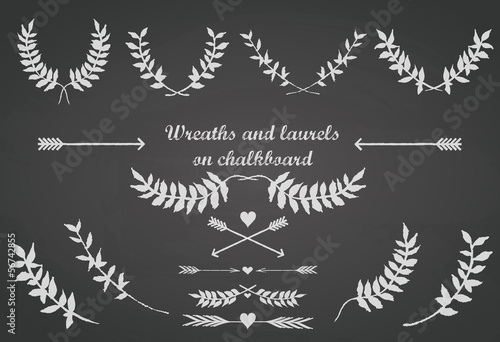 Chalkboard set  with laurels, wreaths, arrows and hearts