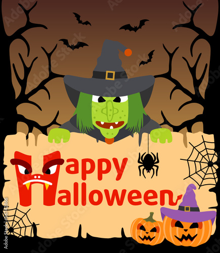 Halloween background card with Witch