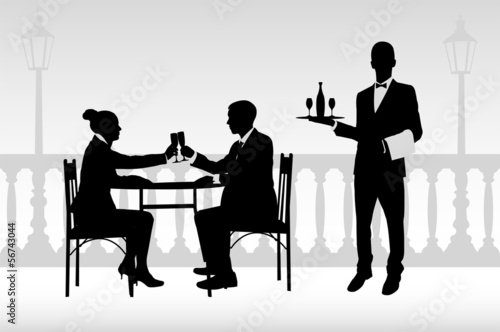 couple in the restaurant and waiter serving them- vector