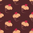 Seamless vector dark chocolate muffin pattern background