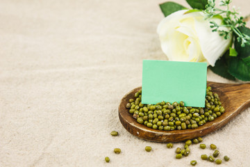 Mung bean with notepaper