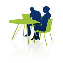 Geschäftsleute, Besprechung, Zusammenarbeit / Silhouette