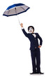 Funny man with umbrella on white