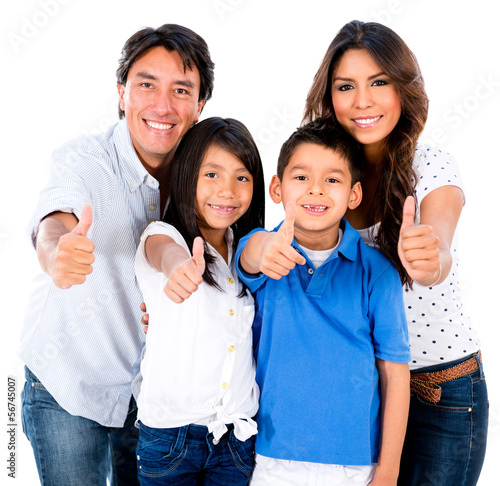 Happy family with thumbs up