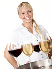 Pretty lady waitress is proud of her job