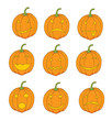 set of pumpkin emoticons