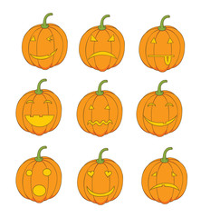 set of pumpkin emoticons