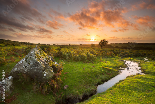 Sunset from Sourton, Dartmoor Devon Uk