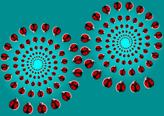 optical illusion with flying ladybugs