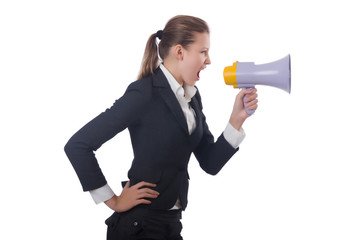 Woman with loudspeaker on white