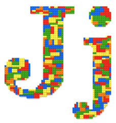 Letter J built from toy bricks in random colors