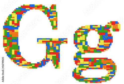 Letter G built from toy bricks in random colors