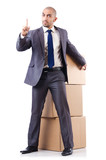 Businessman with box isolated on the white