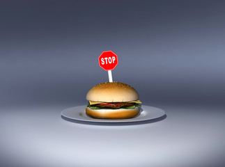 Hamburguesa con una señal de 'stop'