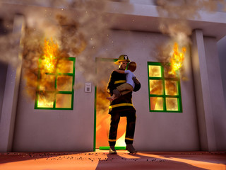 Bombero salvando a un niño de un incendio