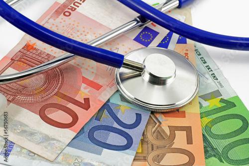 canvas print picture stethoskop mit euro